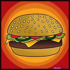 How to Draw a Hamburger, Step by Step, Food, Pop Culture, FREE ...