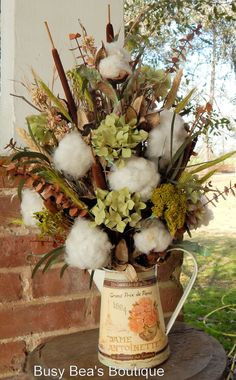 Cotton Boll French Country Arrangement Antique by BusyBeasBoutique
