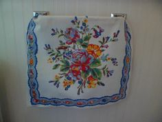 "Vintage 1940's Kitchen/Tea/Dish Towel 26"" x 17"" Yellow/Red/Blue/Green Flowers~Bright Colors! by PleasantDaysVintage on Etsy"