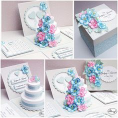 Diy Crafts For Girls, Diy And Crafts, Wedding Boxes, Wedding Cards, Box Cards Tutorial, Card Tutorials, Exploding Gift Box, Pop Up Karten, Printable Box