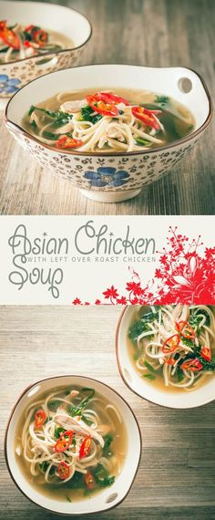 Asian Chicken Soup Recipe: Using Left Over Roast Chicken or Turkey. Nothing could be simpler than this Asian Style Chicken Soup made with left over roast chicken.