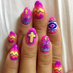 Neon Mexican skull art, chevron, cross gel nails! | Beauty Inspiration on We Heart It