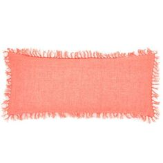 We love the fringe on this linen coral throw pillow. | $132