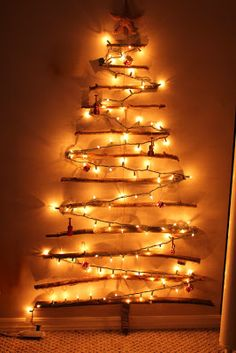 Christmas branch tree on the wall - love this!!
