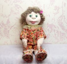 Textile Doll With Curly Hair  Dressed in Colorful by TanyaStudio, $70.00