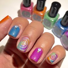 Spirals, holo, rainbow, lots of colors, swirl, holographic, studs, stones, cyclone,