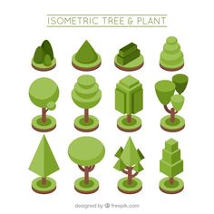Collection of plants and trees in isometric style Free Vector Isometric Map, Isometric Drawing, Isometric Design, Plant Illustration, Graphic Design Illustration, Vector Design, Vector Art, Vector Illustrations, Vector Graphics