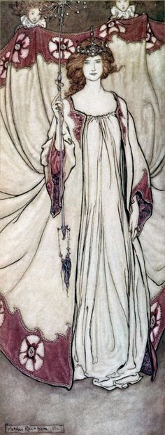 Queen Mab, Who Rules in the Gardens, illustration by Arthur Rackham for Peter Pan in Kensington Gardens by JM Barrie, 1906 Arthur Rackham, Art Nouveau, Art Deco, Art And Illustration, Art Illustrations, Jugendstil Design, Alphonse Mucha, Art Graphique, Belle Epoque