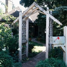 Peaked-Top Arbor. An unfussy arbor design can still make a big impact. Even a simple entry structure can provide a warm welcome and individualize your home.