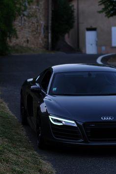 Audi R8 at dusk.