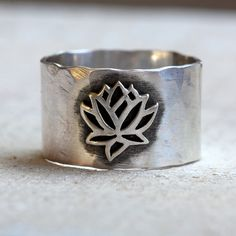 Sterling silver lotus ring with namaste inscribed on the inside. This yoga inspired ring is adored with a silver lotus on the front and on the inside I have hand stamped Namaste. The ring is hammered Lotus Ring, Silver Wedding Jewelry, Silver Rings, Silver Bracelets, Aquamarine Jewelry, Diamond Jewelry, Jewelry Rings, Skull Jewelry, Tribal Jewelry