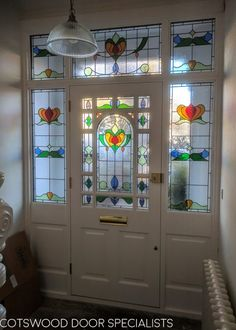Decorative Edwardian front door with stained glass - Cotswood Doors Victorian Front Doors, Wood Front Doors, Painted Front Doors, Glass Front Door, Front Door Decor, Entry Doors, Entryway, Entry Hallway, Glass Doors