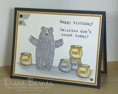 fun watercolor birthday card using Stampin Up Bear Hugs & Party With Cake stamps. By Di Barnes #colourmehappy