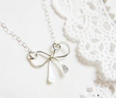 Dainty Bow Necklace Sterling Silver Simple Bow Jewelry Minimalist Everyday Necklace