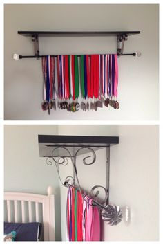 DIY medals display. Display gymnastics medals using a shelf and curtain rod!
