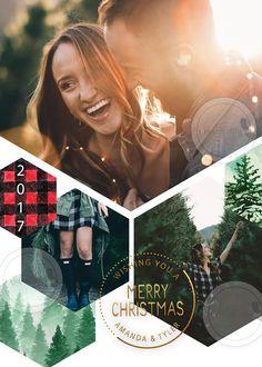 Modern Photo Christmas Card, Photo Collage Christmas Card, Buffalo Plaid Christmas Card, Holiday, DIY, Printed or Printable Christmas Cards  #ad