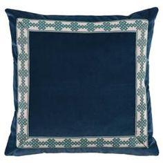 Aida Global Modern Navy Trellis Trim Velvet Pillow - 22x22 | Kathy Kuo Home