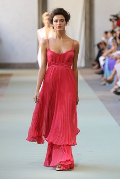 Coral pleated gown / Luisa Beccaria S/S  2012