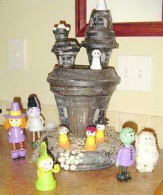Haunted House Clay Pots