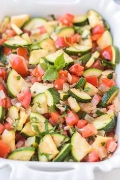 This zucchini side dish is full of onion tomato herbs and of course zucchini to make a bright and fresh side that tastes out-of-this-world delicious! Tomato Side Dishes, Zucchini Side Dishes, Easy Zucchini Recipes, Healthy Eating Recipes, Side Dishes Easy, Vegetable Side Dishes, Side Dish Recipes, Vegetable Recipes, Delicious Recipes