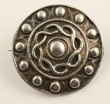Antique Early Victorian HM silver 1843 Scottish shield design brooch pin