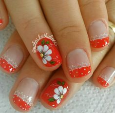 Naranja Fancy Nails, Cute Nails, Pretty Nails, Toe Nail Color, Nail Colors, Nail Designs Spring, Nail Art Designs, Nails Design, Hair And Nails