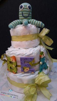Torta pannolini verde www.sognodelbambino.it