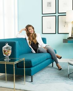 Jessica Alba One Kings Lane tag sale Turquoise Couch, Teal Sofa, Shades Of Teal, Business Portrait, Piece A Vivre, Celebrity Houses, Foto Pose, Home Office Decor, Office Chic
