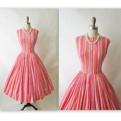 50's Garden Party Dress // Vintage 1950's Pink by TheVintageStudio, $70.00