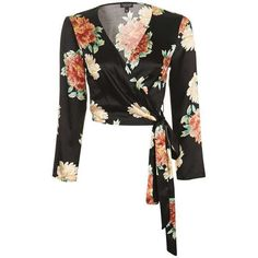 TopShop Floral Satin Wrap Top (220 BRL) ❤ liked on Polyvore featuring tops, satin crop tops, topshop tops, floral crop top, flower print tops and crop top
