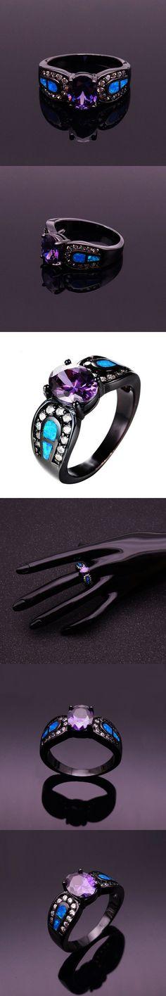 Luxury Oval Purple Cubic Zirconia Crystal Wedding Rings Black Vintage Blue Fire Opal Rings Women Fashion Jewelry