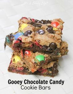 M&M Chocolate Chip Cookie Bars