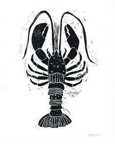 Lobster with Patterns Illustration - Nautical Block Print Pattern Illustration, Illustration Styles, Stamp Carving, Linoprint, Nautical Art, Beach Design, Graphic Prints, Art Lessons, Printmaking