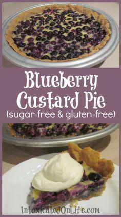 Blueberry Custard Pie (sugar free and gluten free)