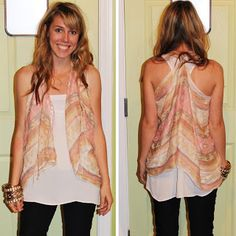 How to make a scarf vest. So easy. So cute.