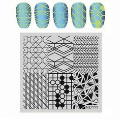 NICOLE DIARY Nail Art Stamping Image Plates Stainless Steel Geometric Patterns High Quality DIY Stamping Template 26252