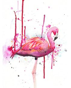 Flamingo - art print - 8x10 - archival - giclee - pink wall decor