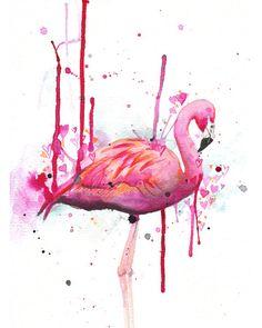 Flamingo - art print - 8x10 - archival - giclee - pink wall decor