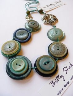 Beautiful Smokey Blue Vintage Button Handmade Necklace - For SomeOne Special - Original price GBP, On sale - GBP A gorgeous lot of beautiful smokey blue vintage buttons and flower connectors formed this stunning piece of necklace. Large Buttons, Vintage Buttons, Dorset Buttons, Button Crafts, Handmade Necklaces, Kitty, Crafty, Blue, Accessories