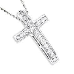 Luxurman 14k Gold 0.59ct Round Diamond Cross Pendant (14k Rose Gold), Women's, Size: 16 Inch, Pink (solid)