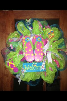 Summer flip flop mesh wreath!! This is my favorite one I have made so far!!!