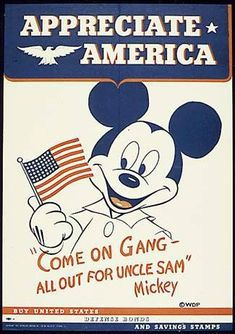 World War 2 poster featuring Mickey Mouse, encouraging purchase of Defense Bonds and Savings Stamps to help finance the war.