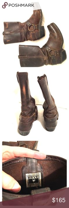 Mid-Calf Frye Dark Brown Boots Perfect condition Frye Boots. Inside soles are in great condition, And boot is really comfortable. Great motorcycle boots! Frye Shoes Combat & Moto Boots