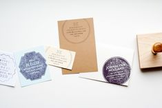 BUSINESS CARD STAMPS are perfect for branding several different stationery pieces - business cards, letterheads, notecards, etc. You can also mix things up with different ink and paper colors. From MaeMae Paperie