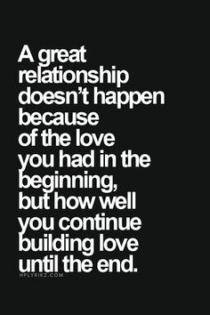 How you continue building love....