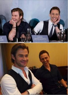 Tom Hiddleston and Chris Hemsworth switching outfits.