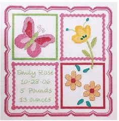 Bucilla Sophie Birth Record - Cross Stitch Kit. Brighten the nursery and welcome the new little one with this fun design! The complete kit includes 14 Ct. White