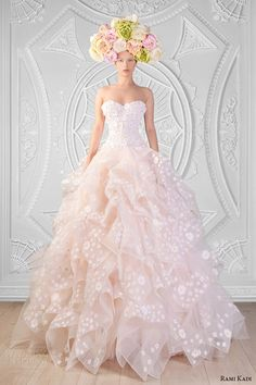 rami kadi couture spring 2014 collection sweetheart neckline strapless silk guipure and tulle peach ball gown