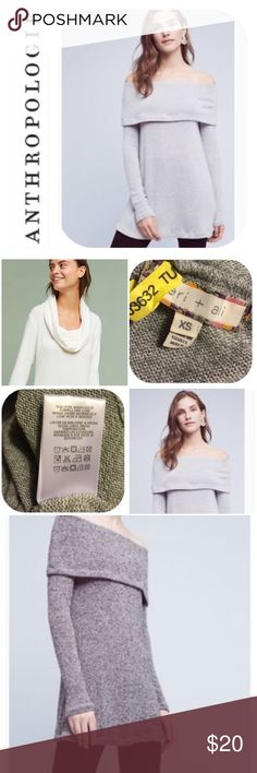🌿ANTHRO eri + ali NAPLES Sweater Tunic XS 4 🌿Please see all photos. Lovely versatile item. Great with a scarves or jewelry to change the look! COLOR is light gray in the FIRST pic👍 Anthropologie Tops Tunics