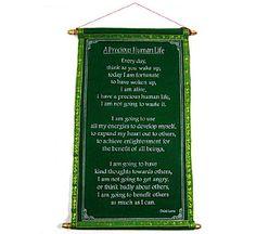 "DALAI LAMA WALL QUOTES ~ "" A Precious Human Life"" ~ Green Velvet Scroll ~ 10"" x 15"" $12.95"